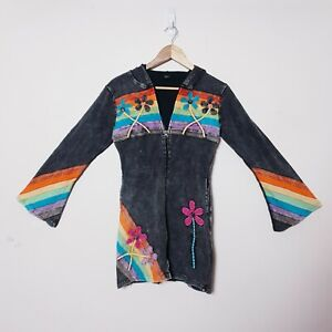 Nepal Made Womens M Medium Black Hippie Floral Boho Zip up Jacket Jumper