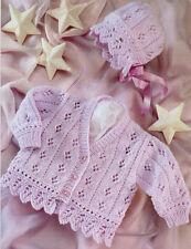"Baby Cardigan & Bonnet Eyelet & Scallop Border 16 - 26"" DK Knitting Pattern"