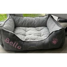 Personalised Dog Bed With The Name Of Your Choice Patched Grey Medium Dog Bed