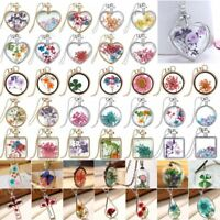 Butterfly Heart Dried Flower Glass Bottle Woman Pendant Necklace Jewellery Gift