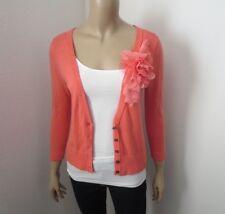 Hollister V-Neck Cardigan Sweater Size Medium Coral Flower Embellished