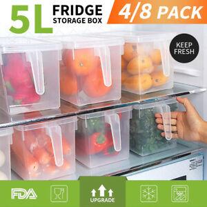 4/8pcs Refrigerator Storage Box Food Container Kitchen Freezer Fridge Organiser
