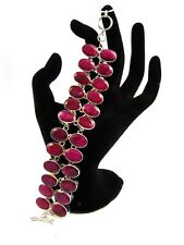 Natural Ruby Stone Cluster Toggle Bracelets Silver Plated Alloy Overlay Jewelry