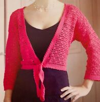 "Ladies Tie Front Bolero Crochet Pattern Chest 32 - 42""   BR512"