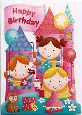Happy Birthday card, any age, girl, princess, castle theme, glitter, brand new