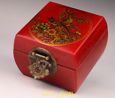 Oriental China Archaize Phoenix Bird Flowers Dotted Red Leather Jewelry Box