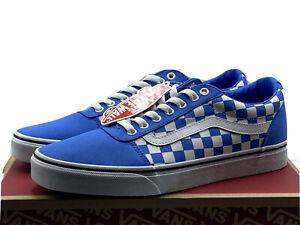 Vans Men's Size 10.5 Ward Checkerboard Skate Shoes Nebulas Blue White New in Box