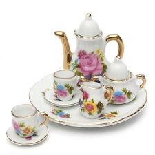 8pcs Porcelain Tea Teapot Ceramic Coffee Teacup Set Rose Floral Dolls House Toy