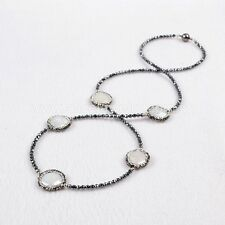 1 Strand Five Round Natural Pearl Beads Necklace & CZ Black Chain QJA204