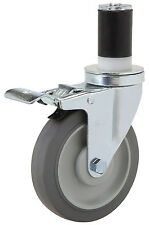 """Total Lock Expandable Rubber Stem Caster: Rubber on Poly Wheel: 3"""" x 1-1/4"""". Brg"""