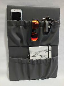 Caravan/camping vinyl storage pockets-grey-double pocket- Australian Made!!