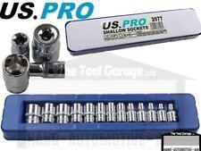 US PRO Tools 13pc 1/4dr Shallow Sockets Set, Socket 4-14mm NEW 2077