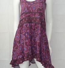 Mossimo Burgundy purple Floral Gathered  Crochet Waist Dress Size XS