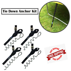 Trampoline Tie Down Anchor Kit Heavy Duty Strong Galvanised Safety Strap Peg