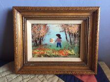 Original Vintage Framed Enamel on Copper Painting Signed Greene
