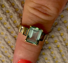 Emerald Cut Green Quartz With Quartz And Diamond Baguettes In 14 Ct Gold Setting