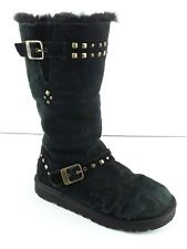 UGG AUSTRALIA WYNTER Youth Black Suede Sheepskin Lined Boots S/N 1004952 US 4 MB