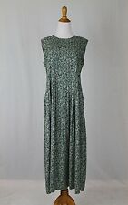 Vintage British Khaki Robert Leighton Green Pintuck Sleeveless Maxi Dress 6 S