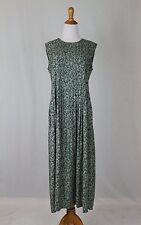 Vintage British Khaki Robert Leighton Green Pintuck Sleeveless Maxi Dress 6 S