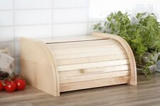 Wooden Bread Box Apollo Roll Top Bin Storage Loaf Kitchen Beech Wood Small Light