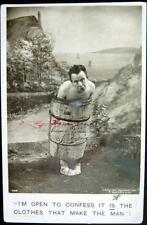 **1907 BAMFORTH RPPC ~ NAKED MAN STUCK IN WINE BARREL ~ Clothes Make The Man !