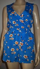 NEW LOOK Blue Multi Colour Floral Wrap Short Sleeve Summer  Playsuit Size 6 BNWT