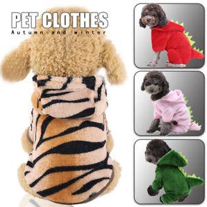 Pet Dog Puppy Dinosaur Tiger Jumper Cute Coral Fleece Hoodie Jacket Clothes