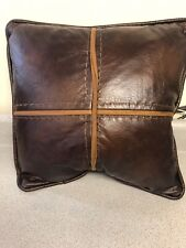 HiEnd Accents NS4090P1 Cross Stitched Pillow Faux Leather  Hand Stitched Accents