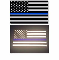"TWO 5""x 3"" REFLECTIVE AMERICAN FLAG FALLEN OFFICER THIN BLUE LINE DECAL STICKER"