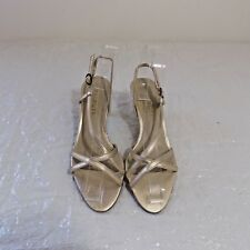 Talbots 5.5 M Gold Heel Strappy Sandal Medium High Heel Matte Social Formal
