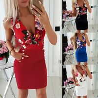 Fashion Women's Holiday Sexy V-neck Bodycon Floral Short Dresses Summer Dress