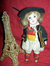 Antique bisque UNIS France 301 boy dollhouse size doll, orig. wonderful costume