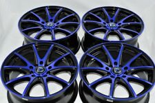"4 New DDR ST15 17x7.5 5x100/114.3 38mm Black/Polished Blue 17"" Wheels Rims"