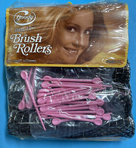 vintage Goody Jumbo Brush Rollers 1977 Ball Tip New Fuzzy Hair Curlers with Pins