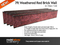 7ft RED BRICK WALL PRE-CUT CARD KIT- O GAUGE / O SCALE MODEL RAILWAYS 7mm 1:43