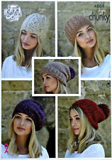 Ladies Slouchy Hats Beret Knitting Pattern 5 Designs Chunky Yarn King Cole 4864