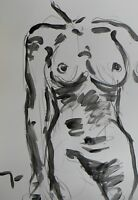 JOSE TRUJILLO - ACRYLIC PAINTING ABSTRACT NUDE WOMAN Black and White Minimalism