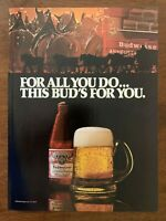 1980 Budweiser Beer Clydesdales Vintage Print Ad/Poster 80s Man Cave Bar Décor