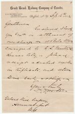 Signed Letter 1882 McCrea Agent Grand Trunk Railway Canada Buffalo NY Black Rock