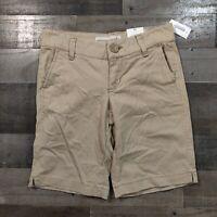 NEW Aeropostale Khaki Adult Womens Size 0 Regular Stretch Solid Bermuda Shorts