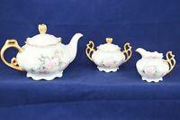 Vtg German Hand Painted Gold & Floral Teapot w/lid Creamer Sugar w/lid Signed