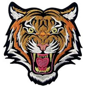 Iron on sew on patches transfers Embroidered appliques tiger animal badges biker