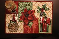 Tache Set of 4 Christmas Tapestry Festive Holiday Tidings Placemats