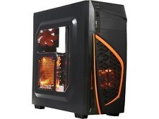 DIYPC Zondda-O Black USB 3.0 ATX Mid Tower Gaming Computer Case with 3 x Orange