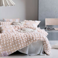 Linen House Haze Pink / White Quilt Cover Set | Ever romantic is this pale pink