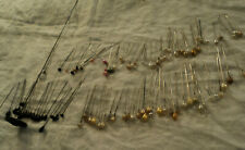 "lot 100+ Vg. hatpins: black, white glass, faux pearl, Victorian glass, 1"" - 12"""