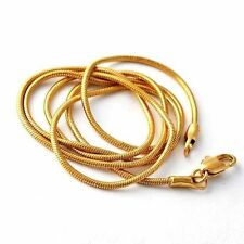 """Classic vintage Mens 18K Gold Plated Snake Rope Chain Long Necklace 18"""""""