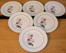 6 assiettes plates faïence l'Amandinoise Fleurettes (St Amand) décors floraux