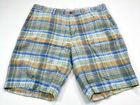 Tommy Bahama 38 Plaid Blue Brown Linen Blend Flat Front Men's Shorts