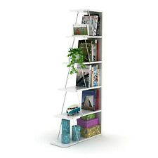 5 Tier Decorative Wood Base Free Standing Bookcase Metal Accessories, White/Pink